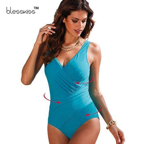 815bd6d930a3c Plus Size Swimwear Women 1 One Piece Swimsuit 2016 Print Solid Swimwear  Large Size Vintage Retro Swimsuit Bathing Suits Black