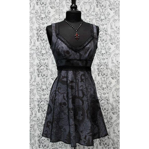 fbf96bbadec Shrine - VINTAGE STYLE COCKTAIL DRESS - GOTHIC TATTOO PRINT Grey in ...