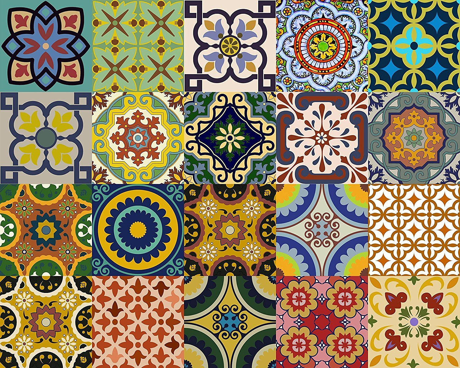 Backslash Peel and Stick C Backsplash Tile Stickers 24 PC Set Traditional Talavera Tiles Stickers Bathroom /& Kitchen Tile Decals Easy to Apply Just Peel and Stick Home Decor 4x4 Inch