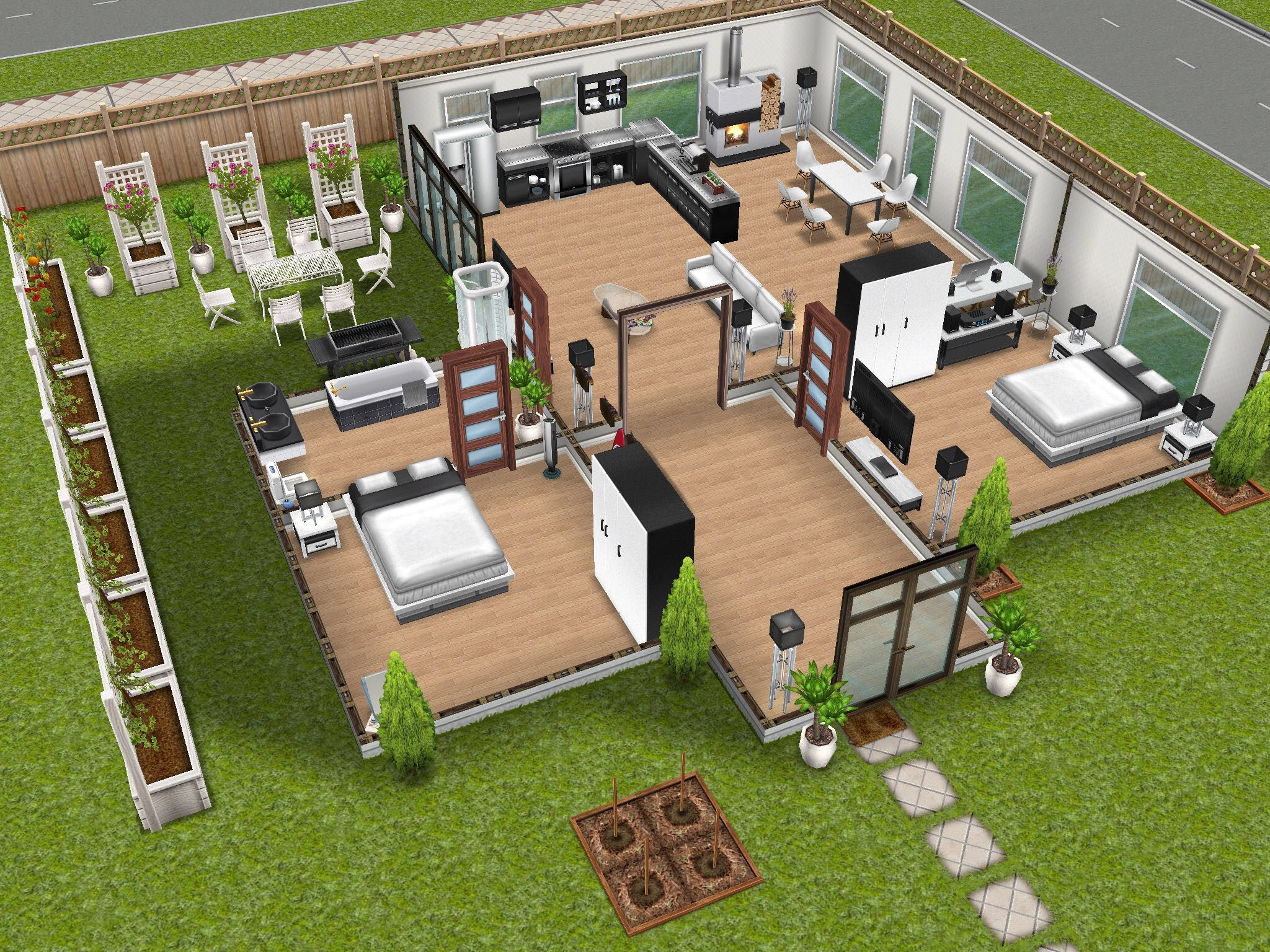 2 Bdrm Home Sims House Sims House Plans Sims Freeplay Houses