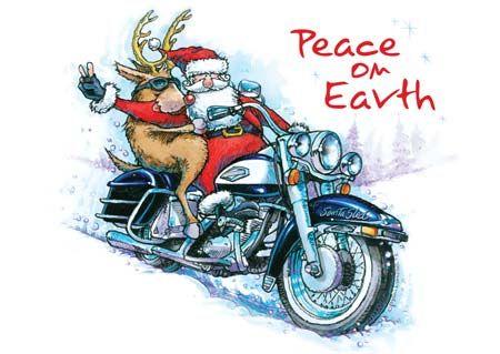 Santa Rides A Motorcycle Christmas Card Collection Motorcycle