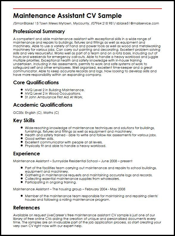 Resume For Maintenance Resume Examples Maintenance  Resume Examples  Pinterest  Resume