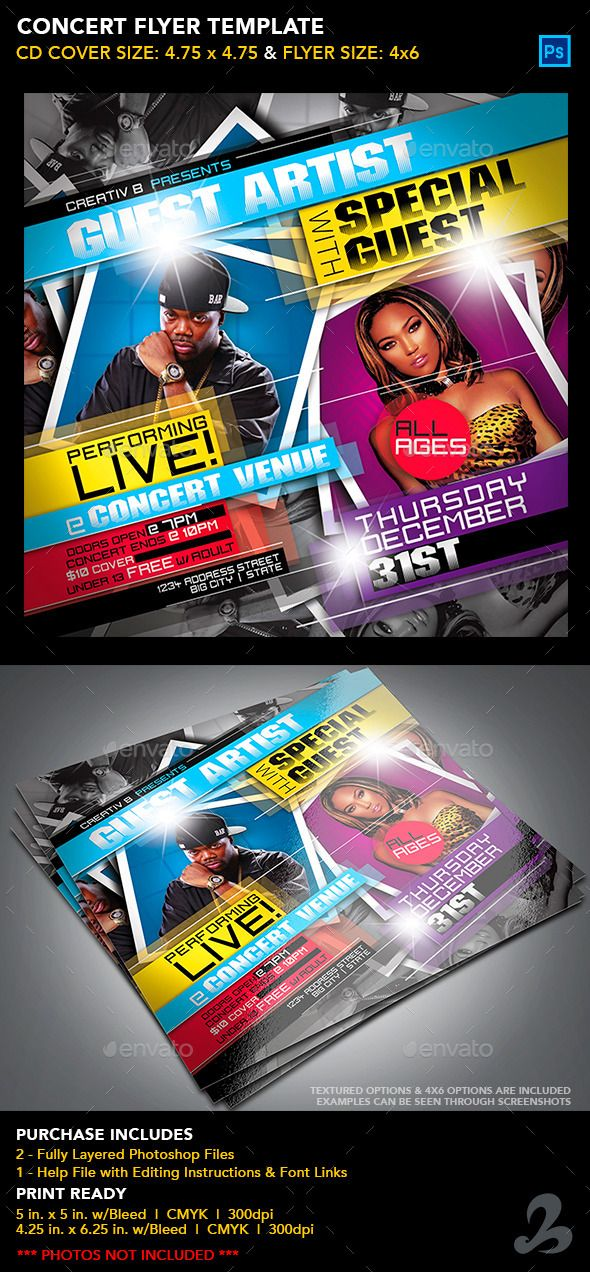 Concert Flyer Template Print Templates Flyers Events Tags Birthday