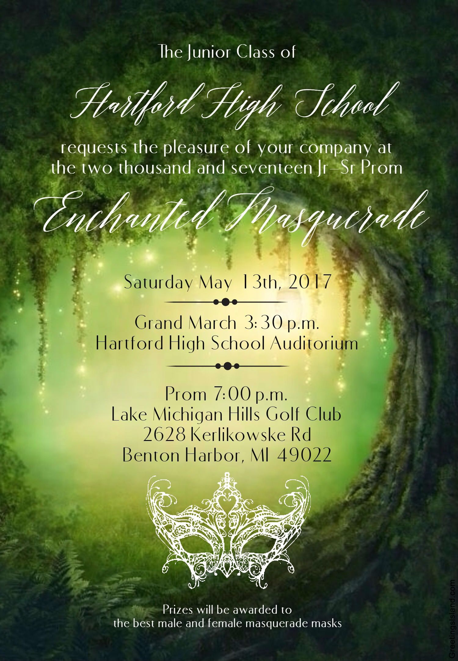 Enchanted Masquerade Prom Invitation Made On Www.greetingsisland.com