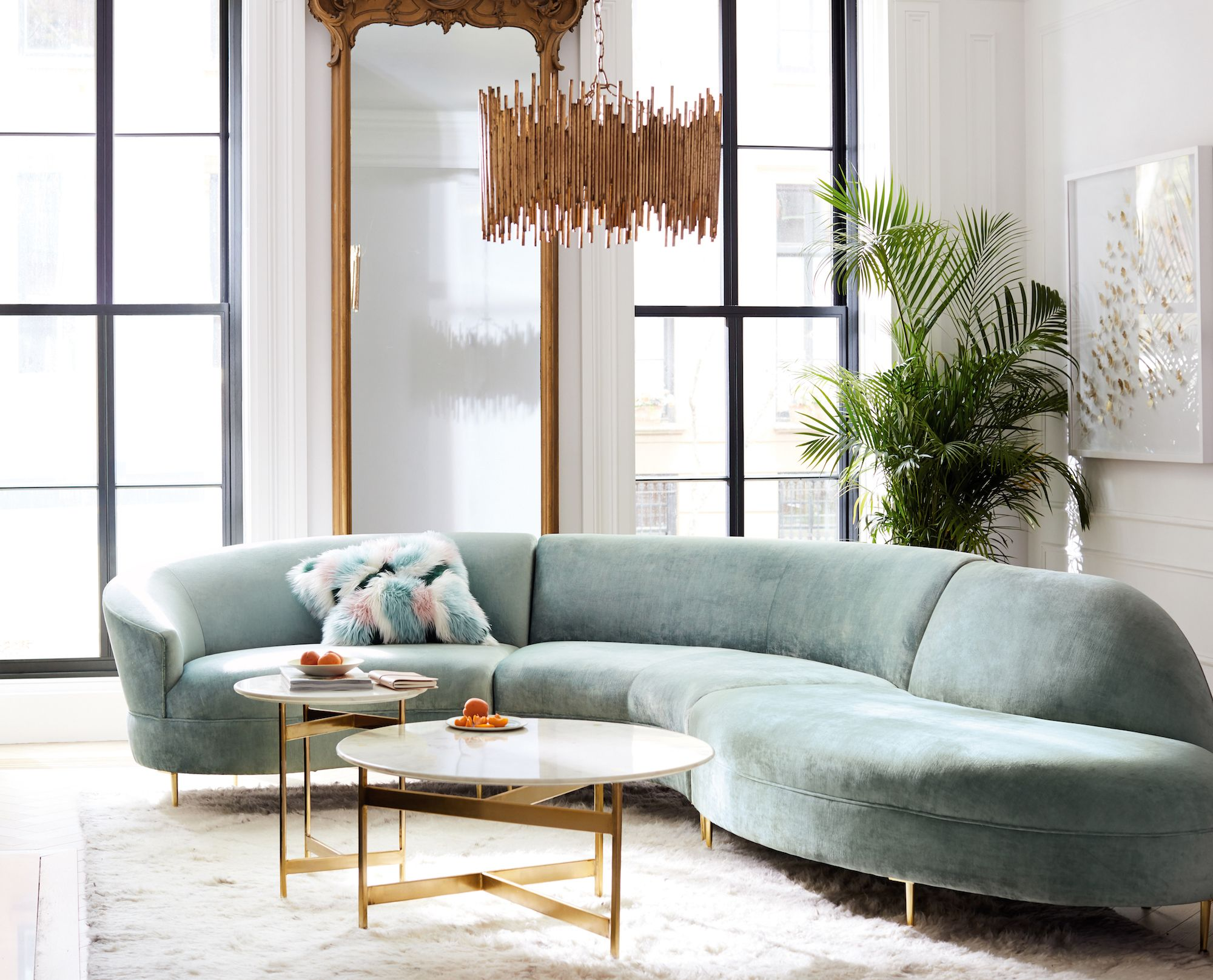 Grace Serpentine Three Piece Sectional Living Room