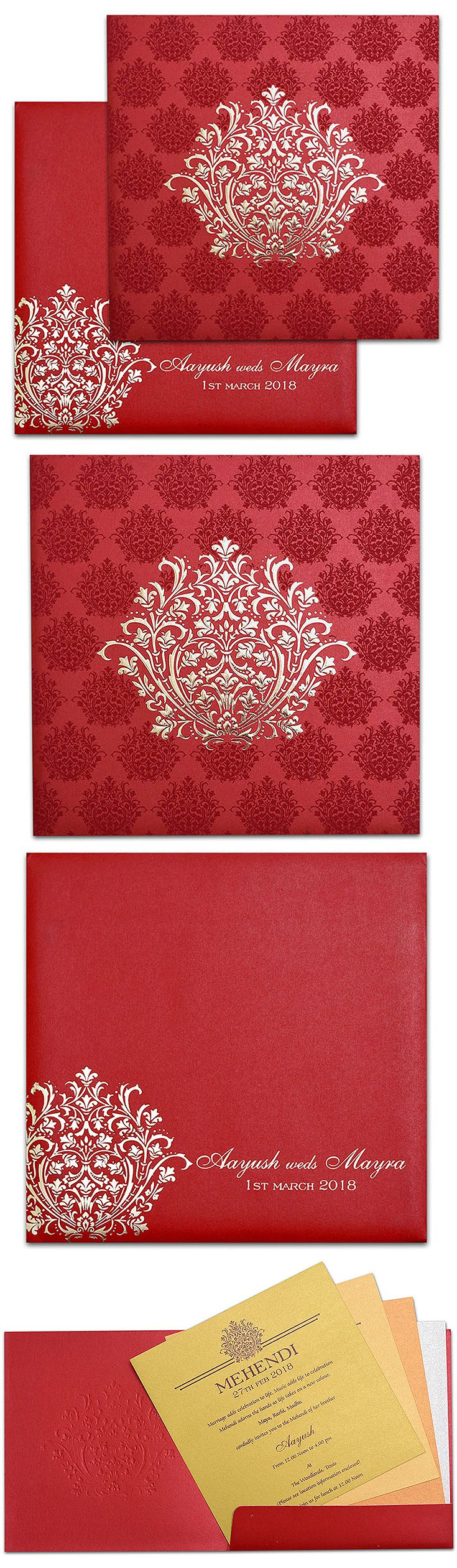 Designer invitation cards available with set of two inserts, folder ...