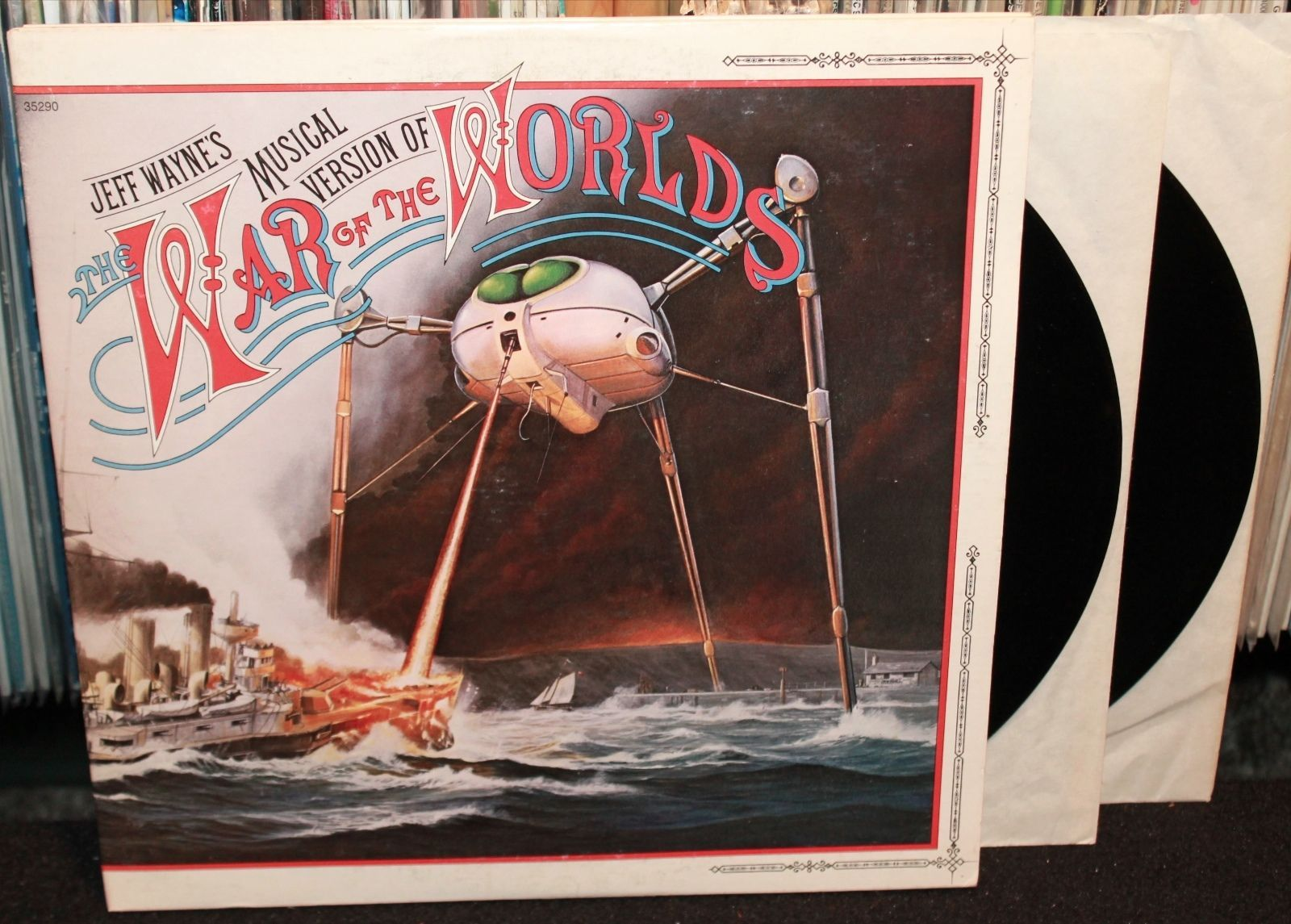 Jeff Wayne S Musical Version Of War Of The Worlds Original Double Lp Columbia 1978 Gatefold With Art Book 13 Vinyl Records War Of The Worlds Vinyl