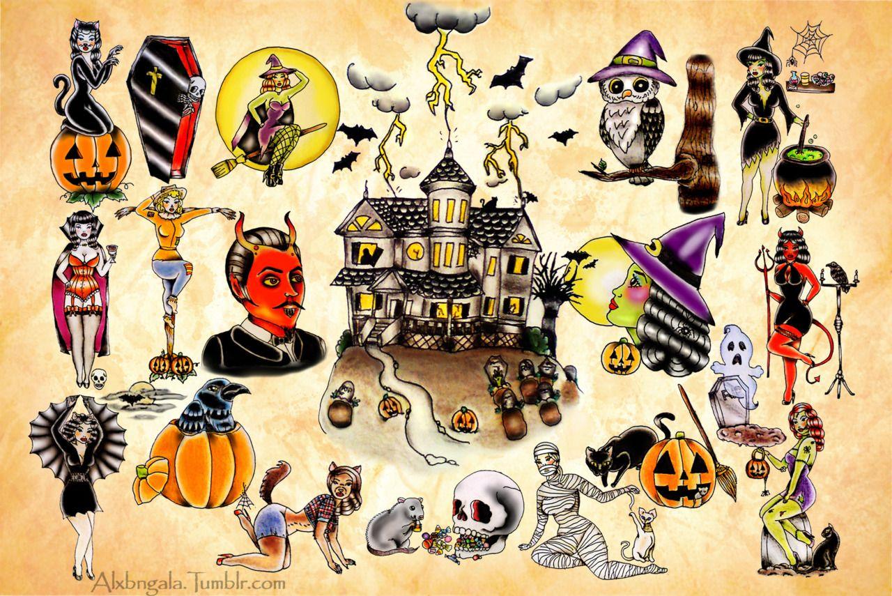 Halloween Flash Tattoo Art Traditional Style Jack O Lanterns Black Cat Witch Haunted House Halloween Tattoo Flash Halloween Tattoos Tattoo Flash Art