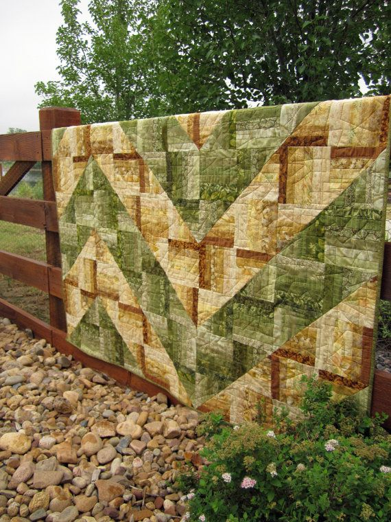 Handmade Quilt Green to Gold by PatchworkMountain on Etsy, $170.00