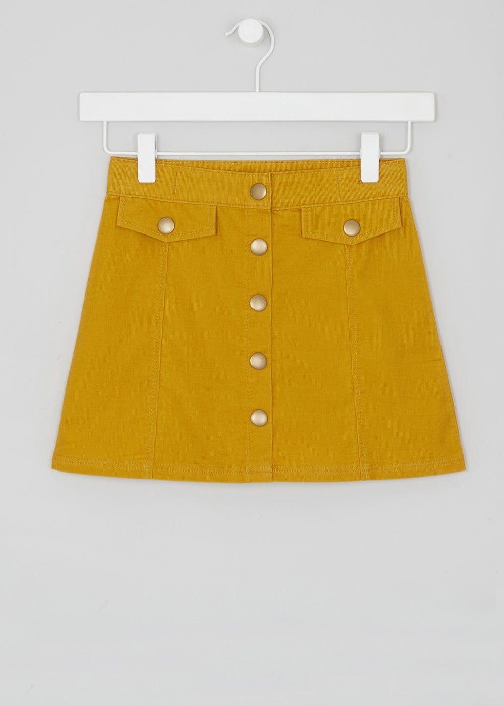 0f645d98a98b Girls A-Line Button Skirt (4-13yrs) – Yellow – Matalan