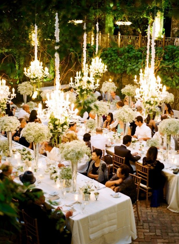 Long Tables Al Fresco With Chandeliers Creates A Sumptuous Outdoor Dining Experience Chandelierchandelier Wedding Decorchandelierswedding