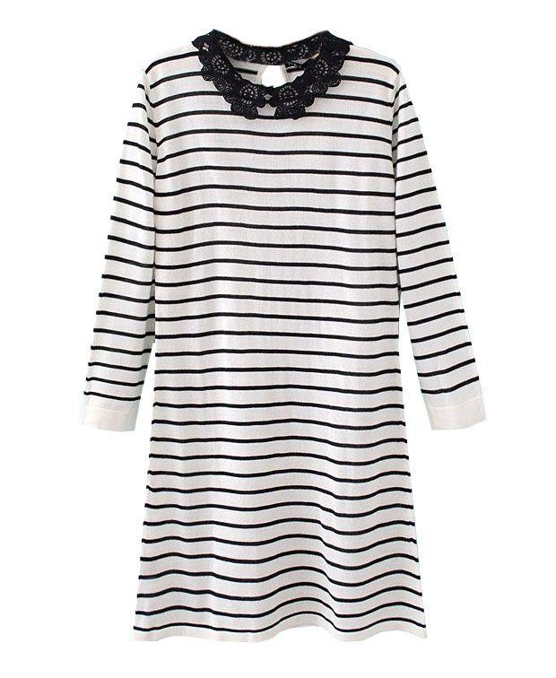 Lace Neck Contrast Stripe Knit Dress