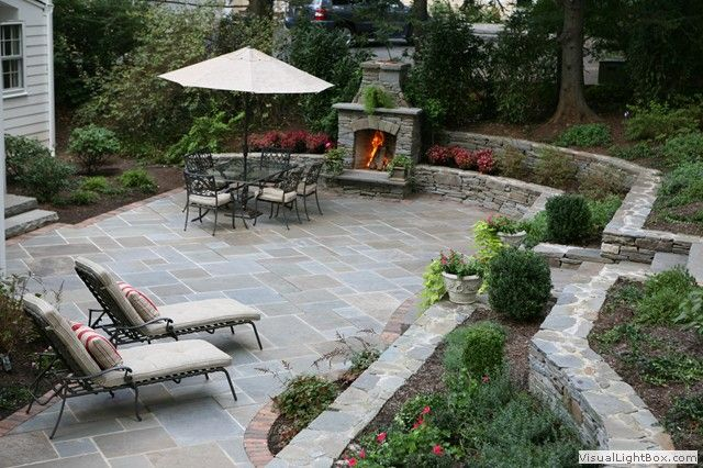 Nice Patio Fireplace | Outdoor Patio With Fireplace And Plantings In New Jersey