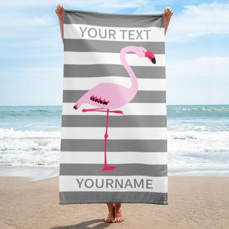 Personalized Beach Towel Gray And White Stripes With Pink