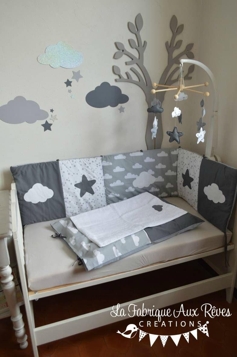 décoration chambre bébé fille garçon nuage étoiles gris foncé gris ...
