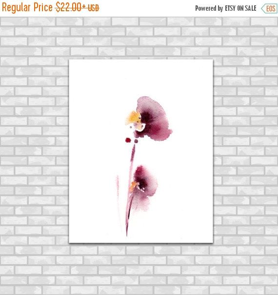 Minimalist Flowers Watercolor Painting Art Print Fine Art Print from Watercolor Painting Floral Burgundy Abstract Watercolour Art  Professional