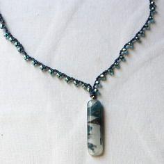Collier en verre fusing  et perles tchèques en verre