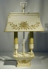 Vintage metal hand painted tole ware bouillotte table lamp shade vintage metal hand painted tole ware bouillotte table lamp shade rewired keyboard keysfo Image collections