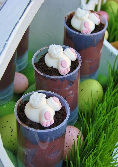 Bunny Hole Push Pops -- Consists of chocolate pudding, Oreo cookie crumbs and fondant bunny.  You could easily replace the bunny with chocolate eggs.
