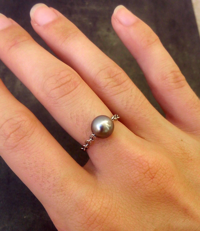 8.5-9mm Top Qualité TAHITIAN BLACK PEARL 14K or Jaune Bague Diamant