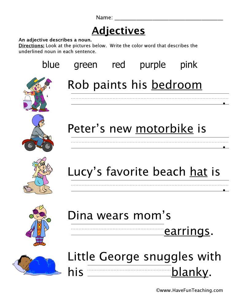 Abbreviations Worksheet 1 Teaching Adjectives Adjective Worksheet Have Fun Teaching Adjectives worksheets for kindergarten