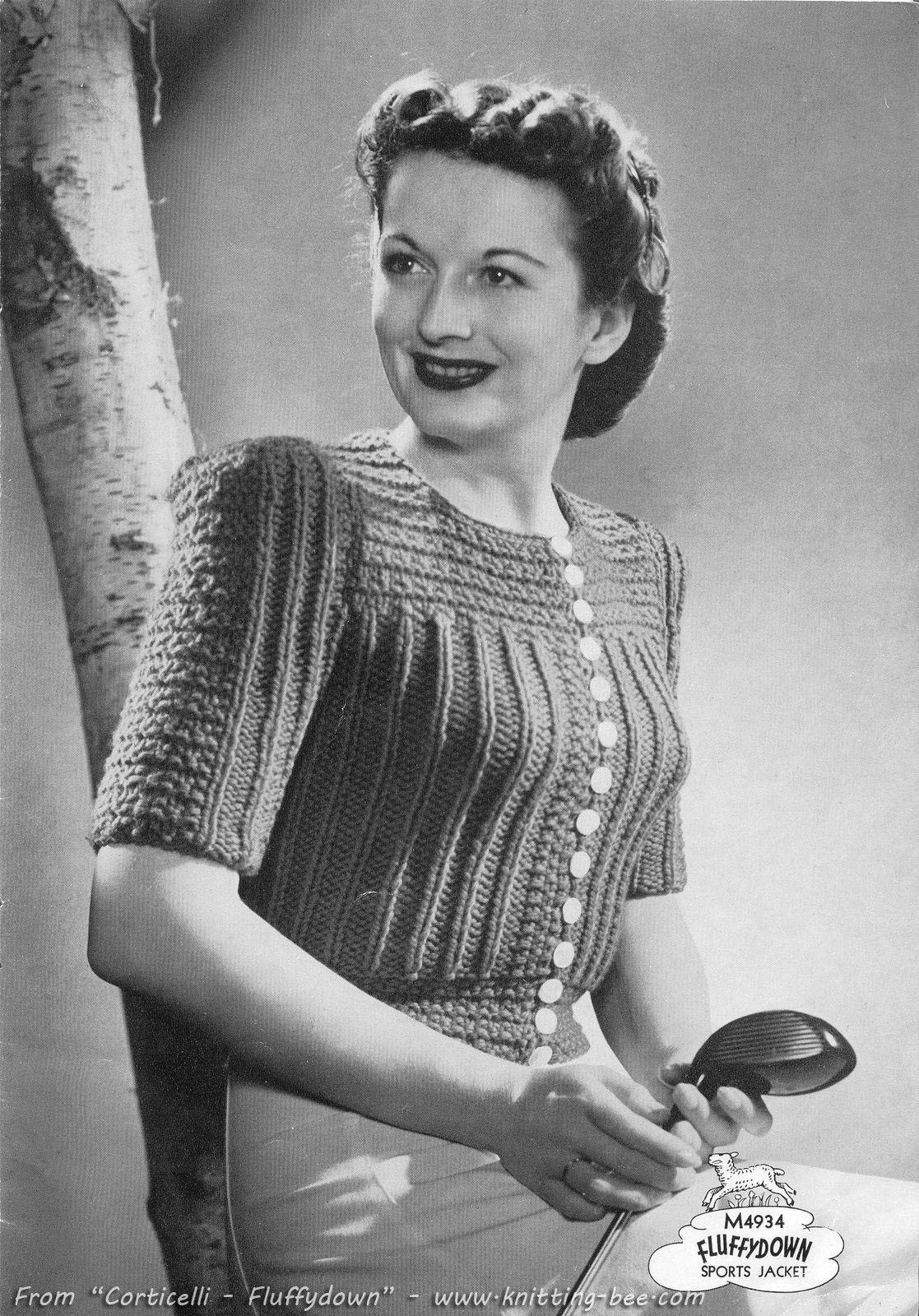 Free vintage cardigan knit pattern craft night pinterest the vintage pattern files free knitting pattern womens sports jacket bankloansurffo Image collections