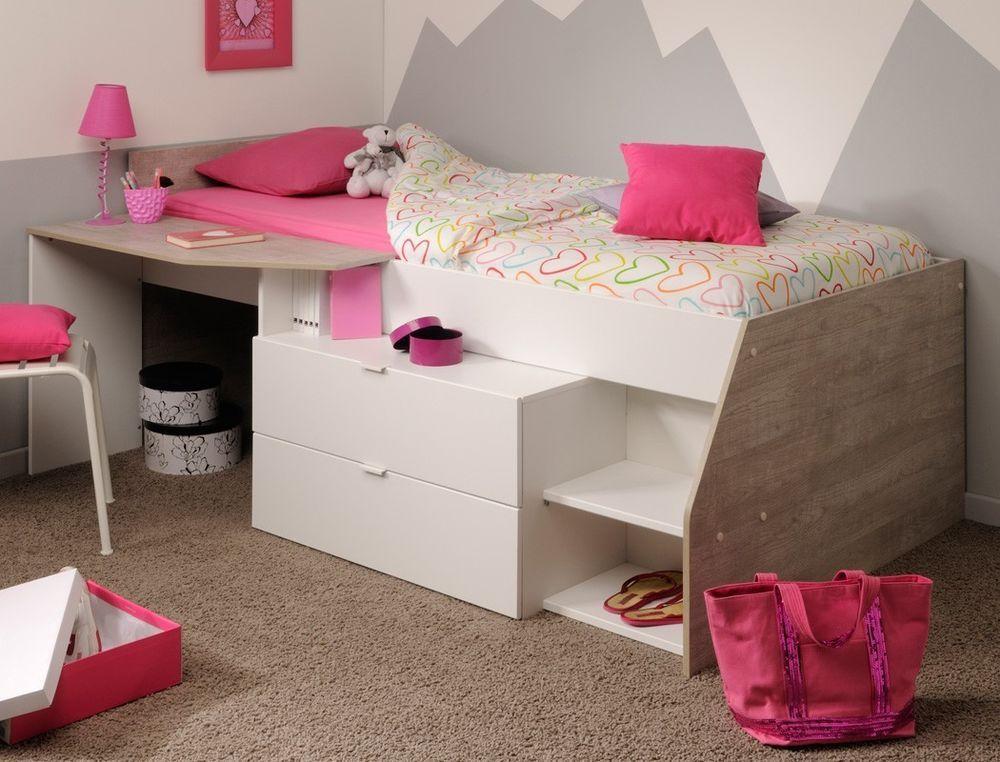 Hochbett 90x200cm weiß grau, Kinderbett Kommode