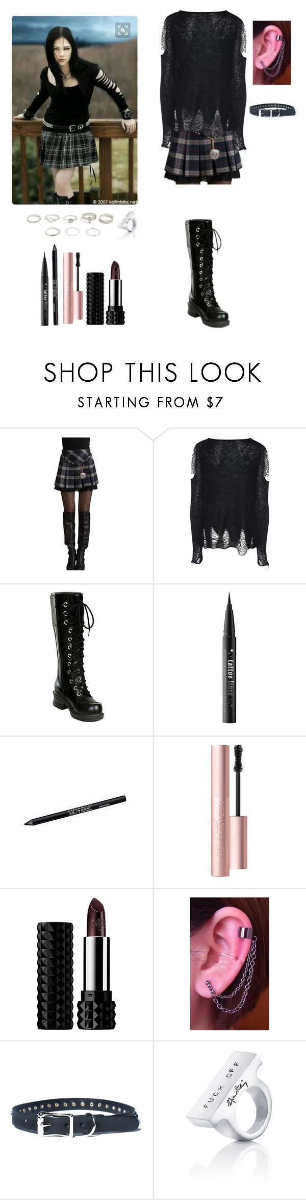 """""""You don't know sh*t about my father..."""" by darksnowwitch ❤ liked on Polyvore featuring Glamorous, Nana', Kat Von D, Urban Decay, Too Faced Cosmetics and BlindMagsOCoutfitsets"""