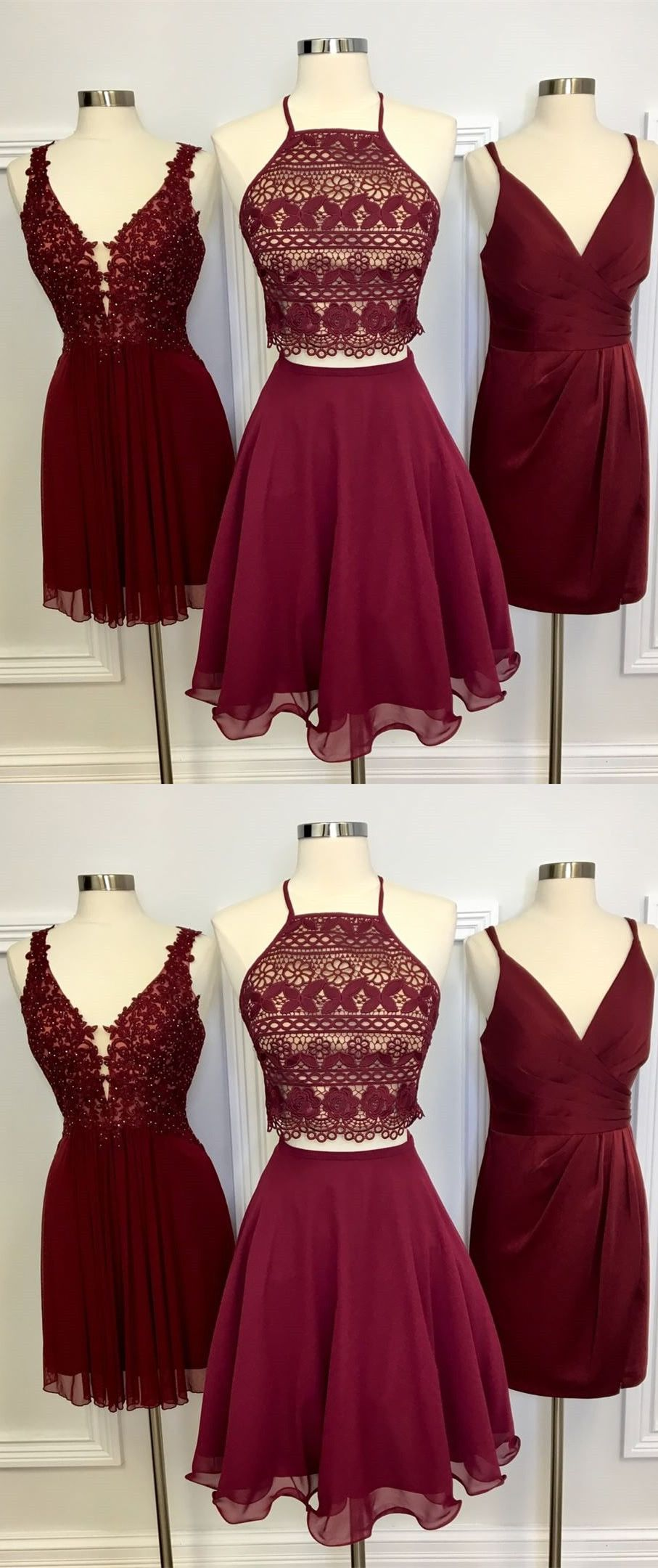 Two piece short homecoming dress burgundy homecoming dress royal