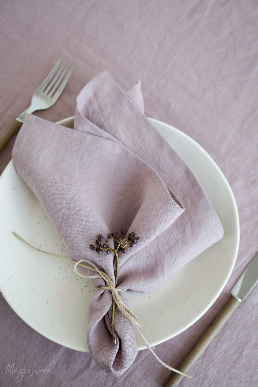 Dusty Pink Linen Napkins