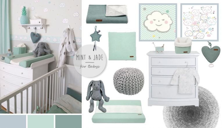 babyzimmer mit wolken in grau mint jade dormitorios. Black Bedroom Furniture Sets. Home Design Ideas