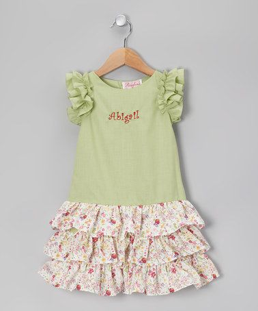 Take a look at this Green Flower Drop-Waist Ruffle Tier Dress - Toddler by Rosalina on #zulily today!