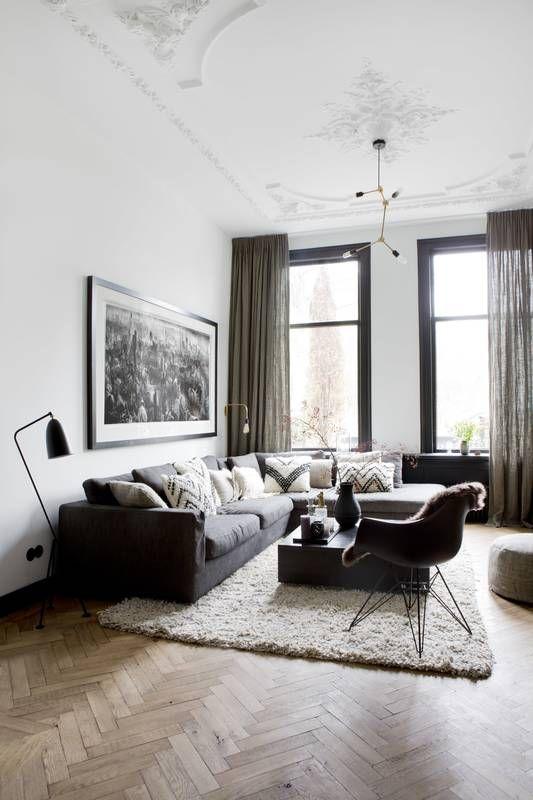 Voor deze prachtige woonkamer hebben we linnen gordijnen op maat ...
