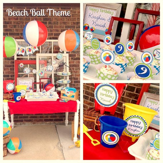 DIY Beach Ball Birthday PARTY PACK by LaurenHaddoxDesign on Etsy