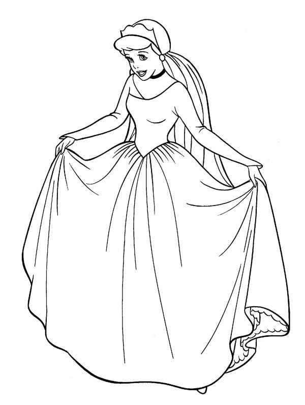Cinderella In Her Wedding Dress In Cinderella Coloring Page Download Print Online Cinderella Coloring Pages Wedding Coloring Pages Princess Coloring Pages