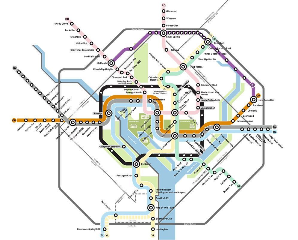 Subway Map Washington Dc.Wmata Washington Dc Metro Subway Loop Line Concept Map Map