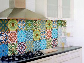 Fantastisch Kachel Aufkleber SET Von 15 Kachel Aufkleber Für Küche Backsplash Fliesen  Bunte Marokkanische Fliesen Vintage Stil Vinyl Sticker, Aufkleber Bad