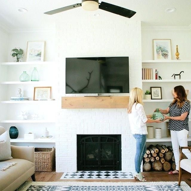 Image result for floating shelves flanking fireplace ...