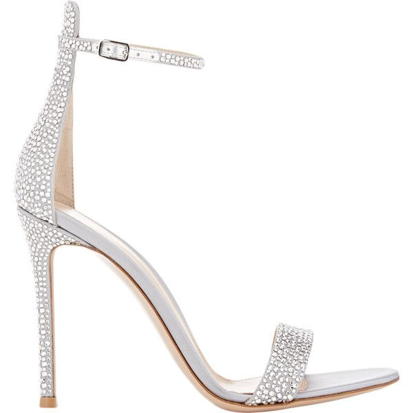 Gianvito Rossi Women's Glam Ankle-Strap Sandals (€585) ❤ liked on Polyvore featuring shoes, sandals, heels, colorless, ankle strap sandals, leather sole shoes, open toe shoes, embellished sandals and open toe heel sandals