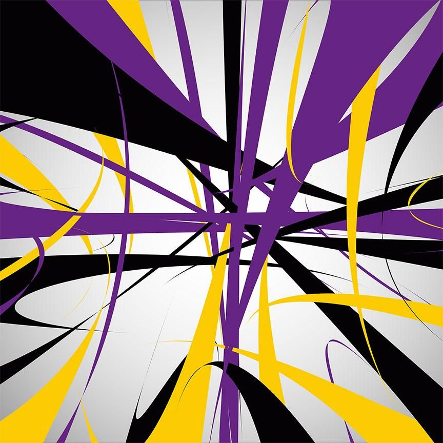 Abstract Purple Yellow Lines Pattern Extra Large Metal Art In