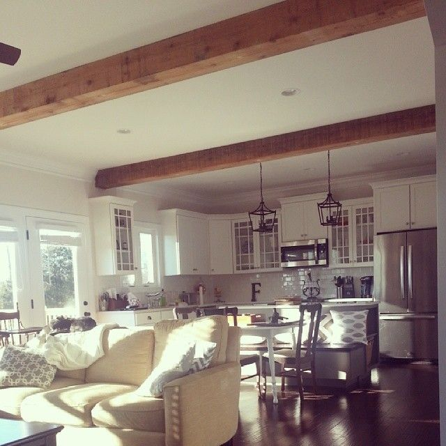 Cedar beams open living the modern farmhouse in 2019 - Wood beams in living room ...