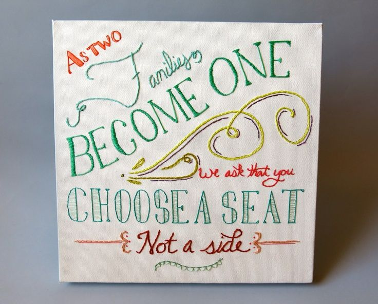 wedding no seating sign | No Seating Plan Wedding Sign - Hand-Embroidered with ... | wedding
