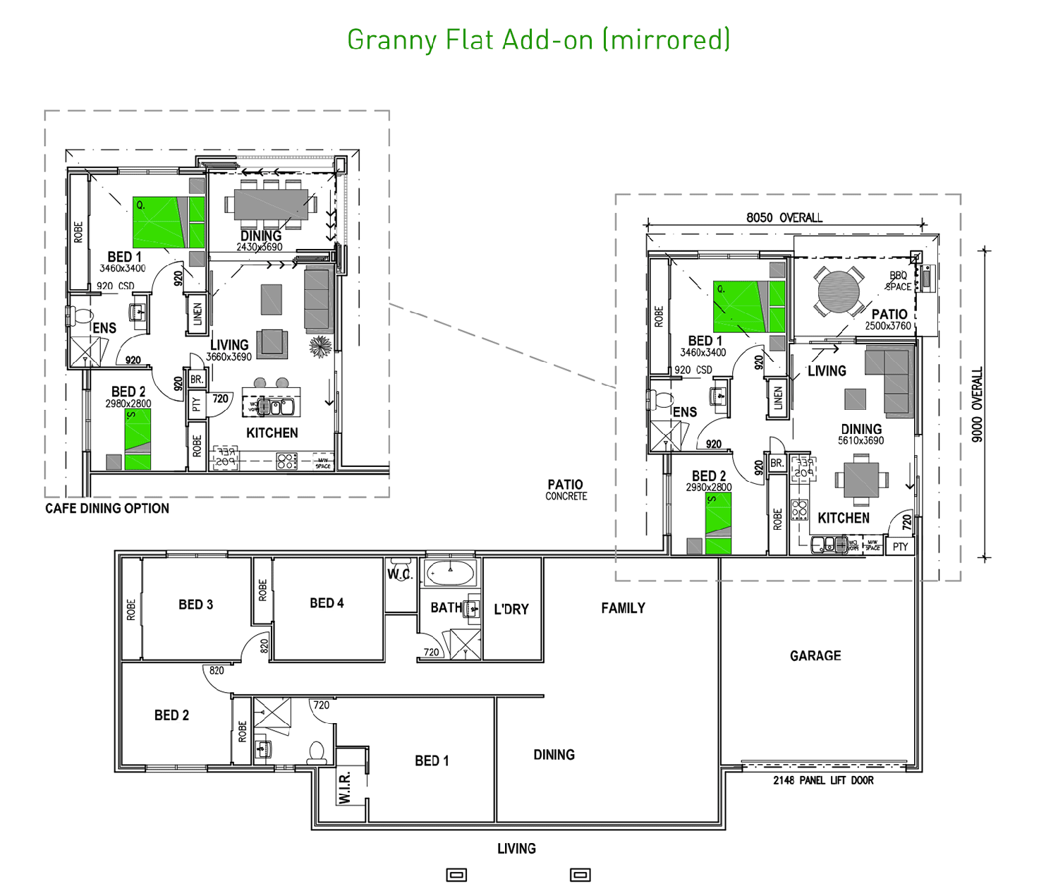 Attached granny flats in 2019 house plans 5 bedroom - Home design with attached granny flat ...