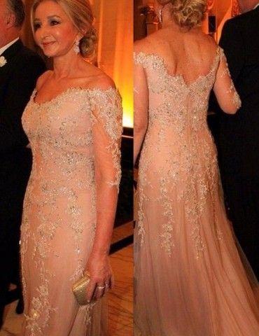 01f3fe53037 Light Champagne Off Shoulder 3 4 Sleeves Mother of the Bride Dress