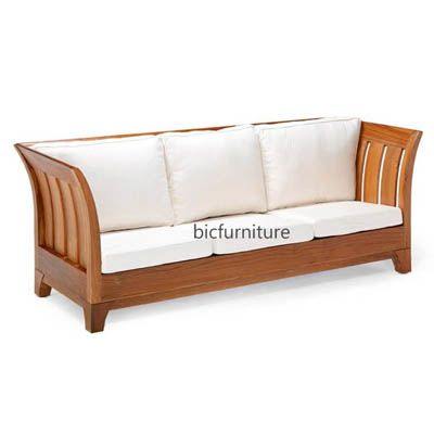 Stylish Teak Wood 3 Seater Sofa For The Living Room By Bic Wooden Sofa Designs Wooden Sofa Wooden Sofa Set