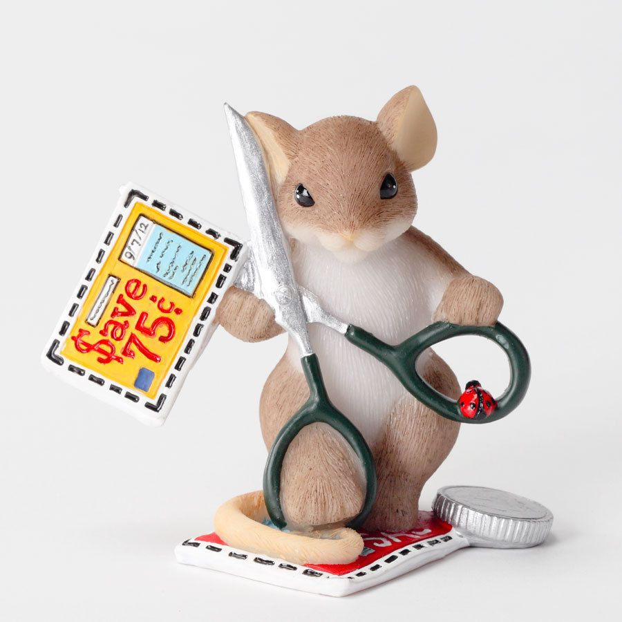 Charming Tails Coupon Clipping Mouse Figure Enesco 4027098