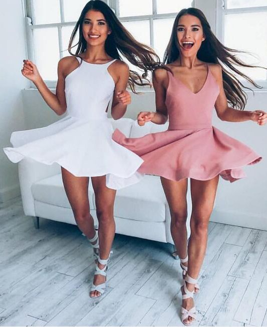 586de56315 A-Line Jewel Backless Sleeveless Short White Blush Satin Homecoming Dress
