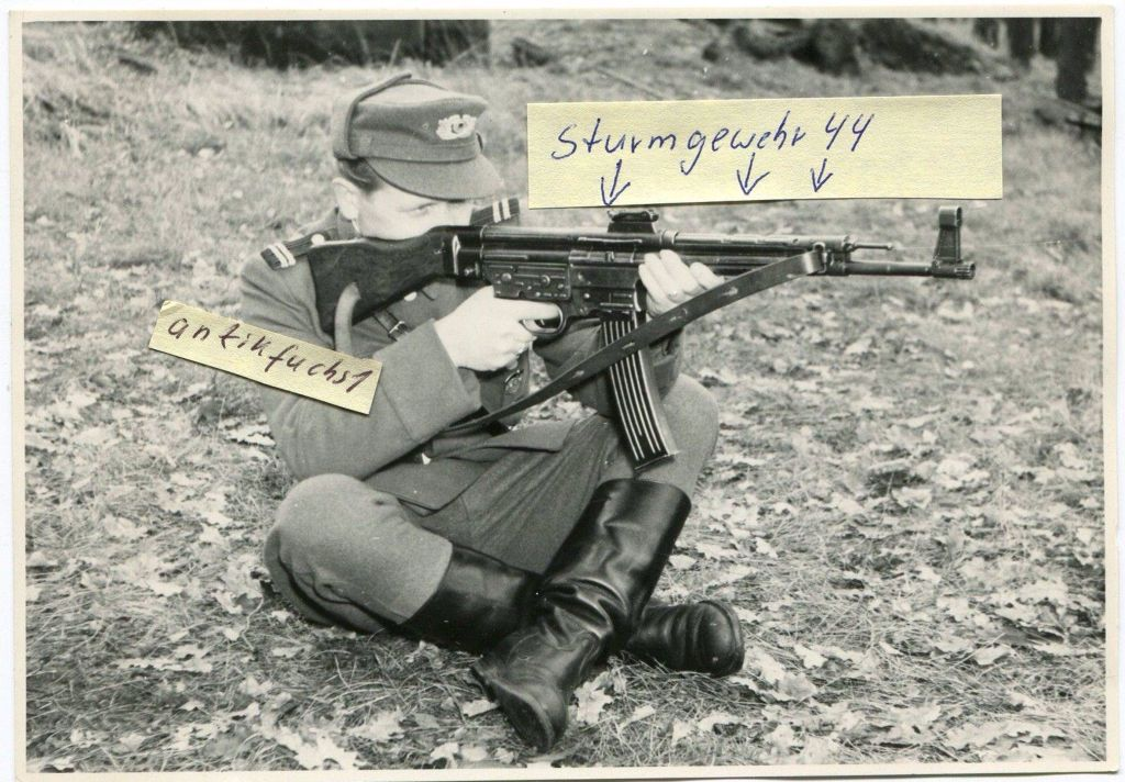 East german soldier with a STG-44, before the NVA switch to AKM, this picture date from the late 1940's
