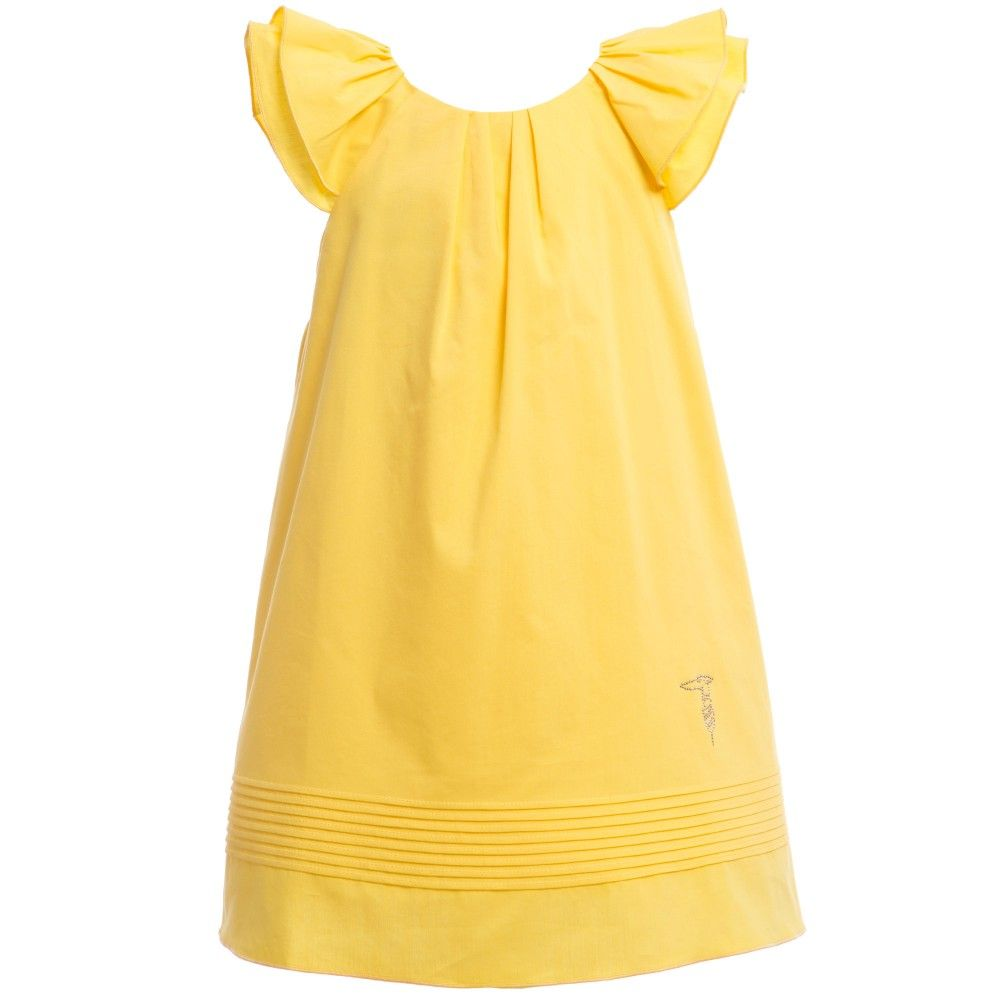 Yellow dress kids  Yellow Cotton Dress with Bow  Trussardi Girl  WELL DRESSED KIDS