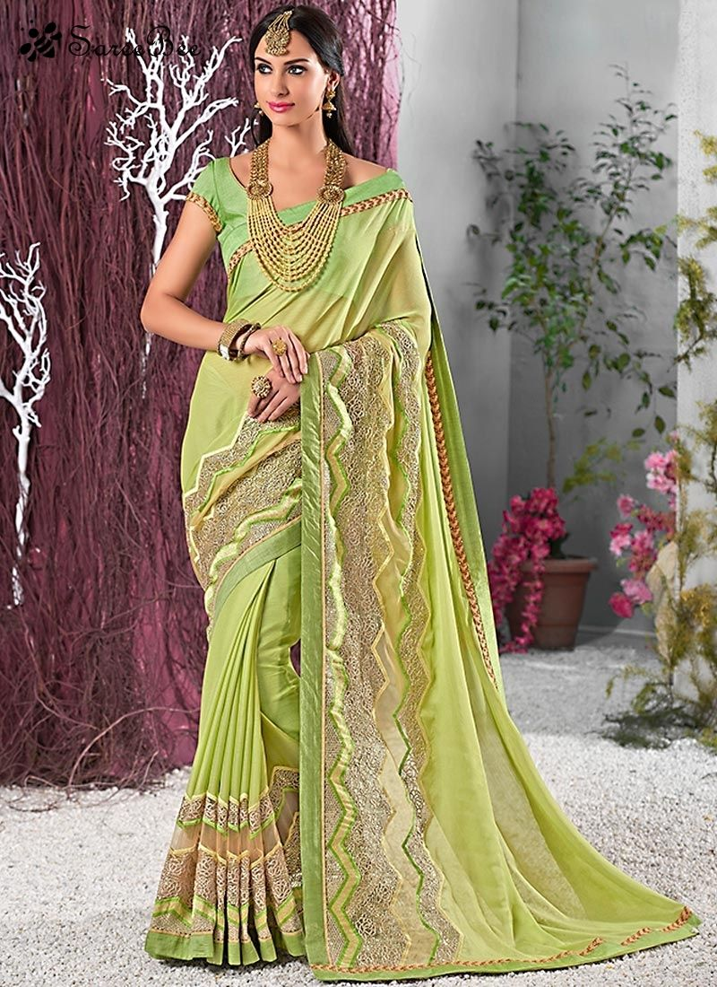 Tantalizing Lace Work Georgette Traditional Saree For More ...